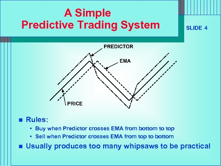 A Simple Predictive Trading System n SLIDE 4 Rules: • Buy when Predictor crosses
