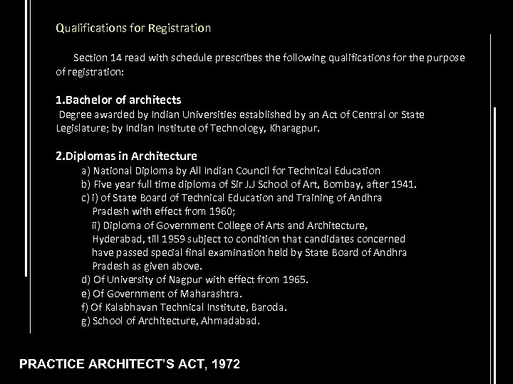 Qualifications for Registration Section 14 read with schedule prescribes the following qualifications for the
