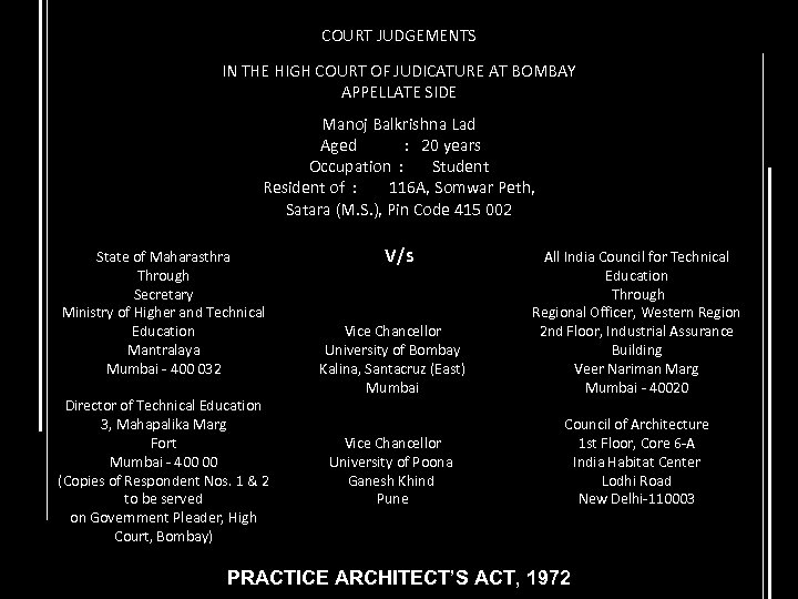 COURT JUDGEMENTS IN THE HIGH COURT OF JUDICATURE AT BOMBAY APPELLATE SIDE Manoj Balkrishna