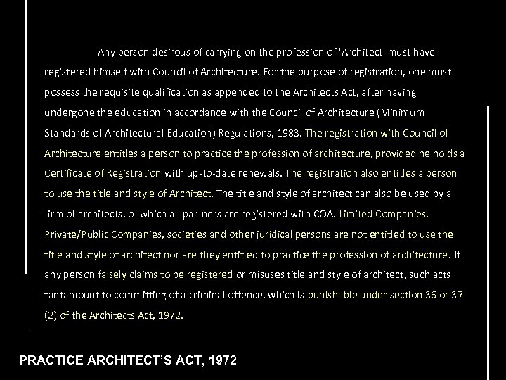 Any person desirous of carrying on the profession of 'Architect' must have registered