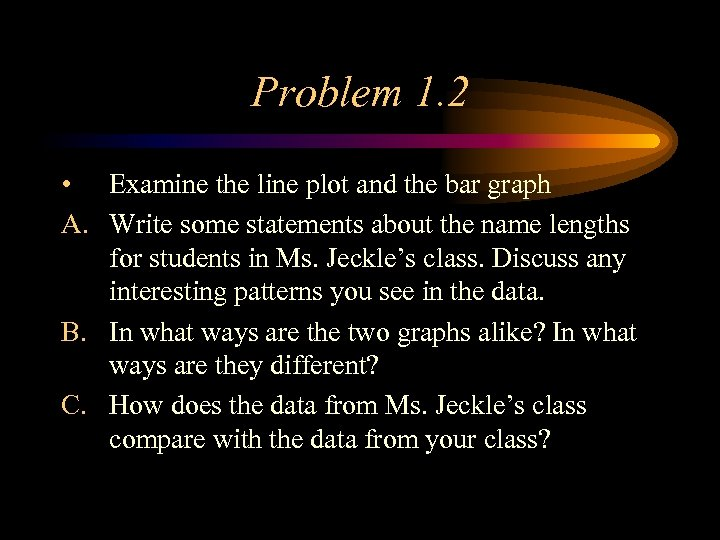 Problem 1. 2 • Examine the line plot and the bar graph A. Write