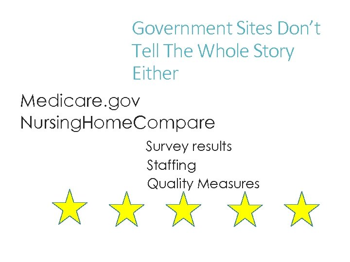 Government Sites Don't Tell The Whole Story Either Medicare. gov Nursing. Home. Compare Survey