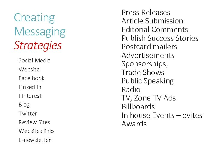 Creating Messaging Strategies Social Media Website Face book Linked In Pinterest Blog Twitter Review