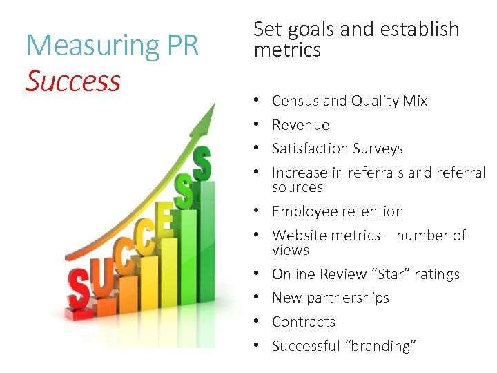 Measuring PR Success Set goals and establish metrics • • • Census and Quality