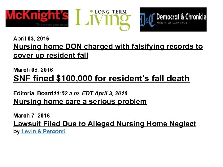 April 03, 2016 Nursing home DON charged with falsifying records to cover up resident