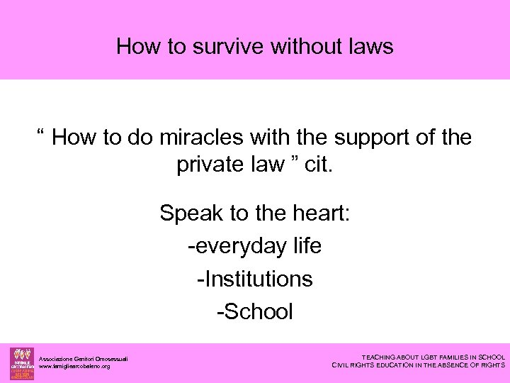 """How to survive without laws """" How to do miracles with the support of"""