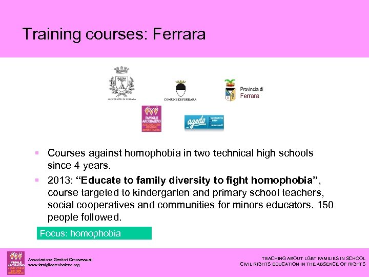 Training courses: Ferrara Courses against homophobia in two technical high schools since 4 years.