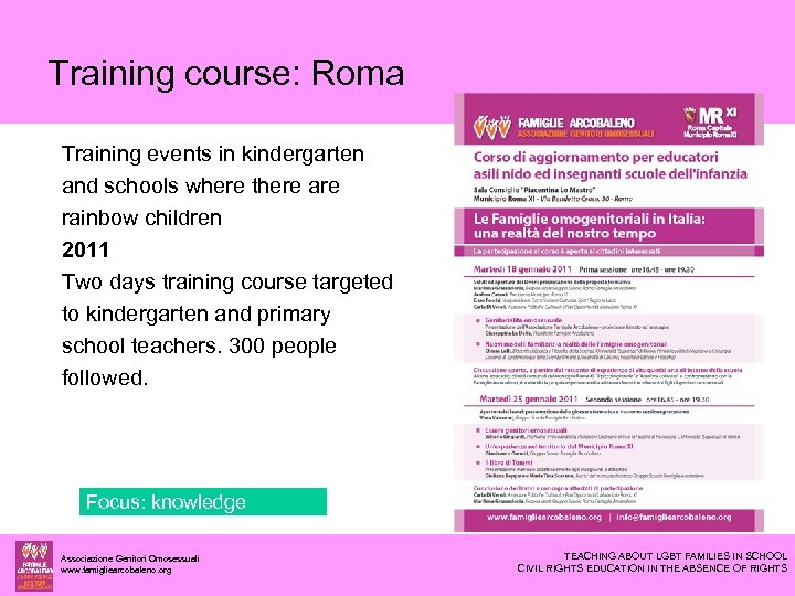 Training course: Roma Training events in kindergarten and schools where there are rainbow children
