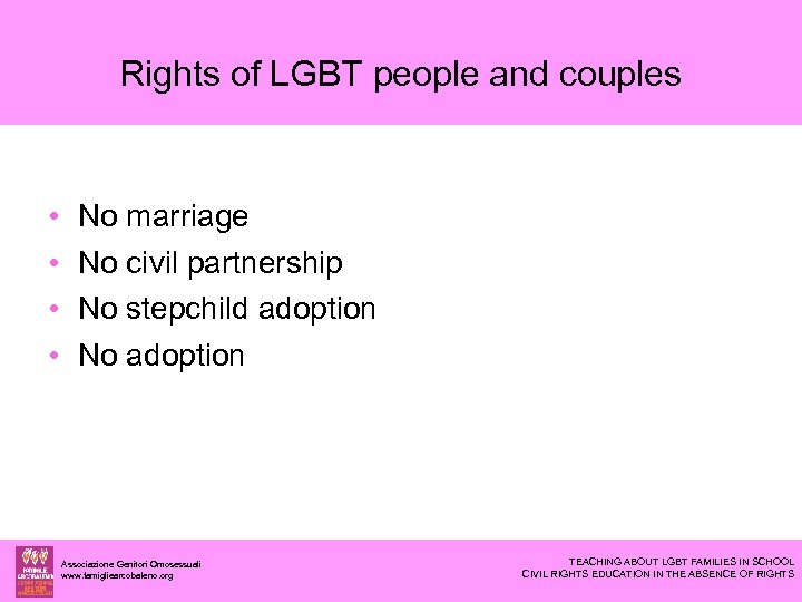 Rights of LGBT people and couples • • No marriage No civil partnership No