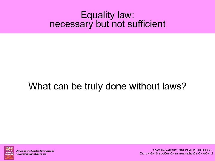 Equality law: necessary but not sufficient What can be truly done without laws? Associazione