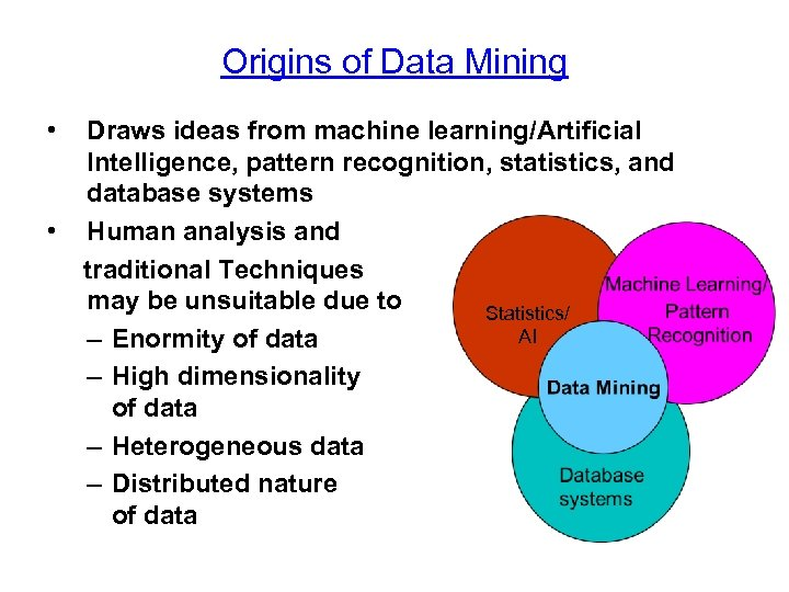 Origins of Data Mining • • Draws ideas from machine learning/Artificial Intelligence, pattern recognition,