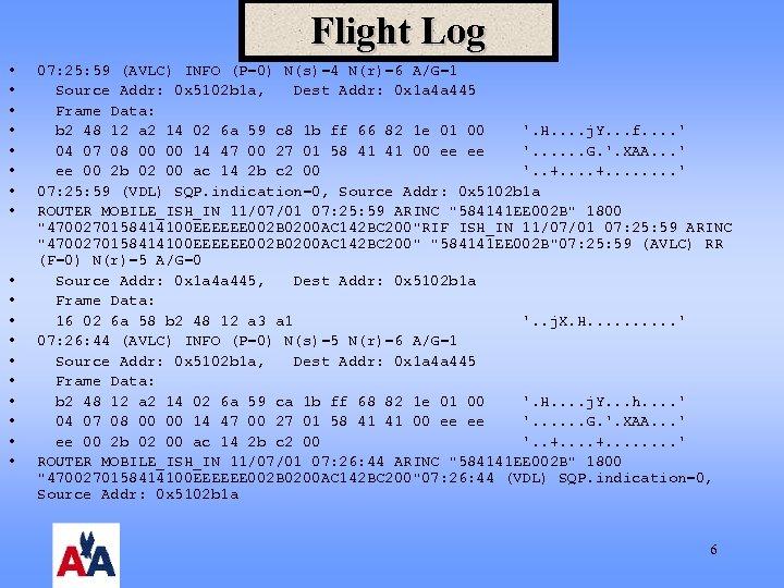 Flight Log • • • • • 07: 25: 59 (AVLC) INFO (P=0) N(s)=4