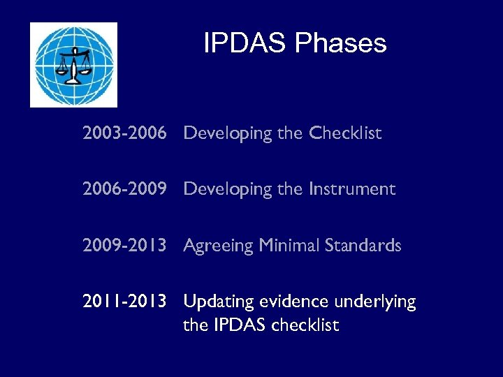 IPDAS Phases 2003 -2006 Developing the Checklist 2006 -2009 Developing the Instrument 2009 -2013
