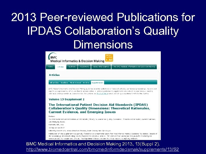 2013 Peer-reviewed Publications for IPDAS Collaboration's Quality Dimensions BMC Medical Informatics and Decision Making