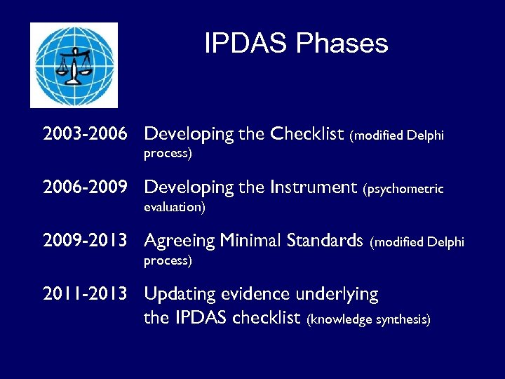 IPDAS Phases 2003 -2006 Developing the Checklist (modified Delphi process) 2006 -2009 Developing the