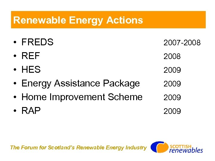 Renewable Energy Actions • • • FREDS REF HES Energy Assistance Package Home Improvement