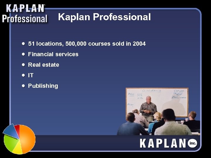 Kaplan Professional 51 locations, 500, 000 courses sold in 2004 Financial services Real estate
