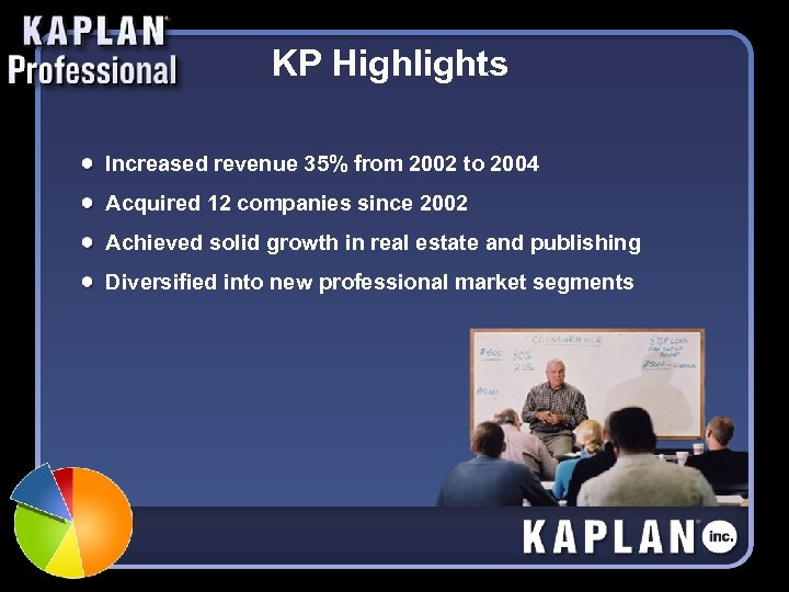 KP Highlights Increased revenue 35% from 2002 to 2004 Acquired 12 companies since 2002