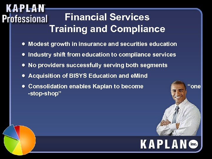 Financial Services Training and Compliance Modest growth in insurance and securities education Industry shift