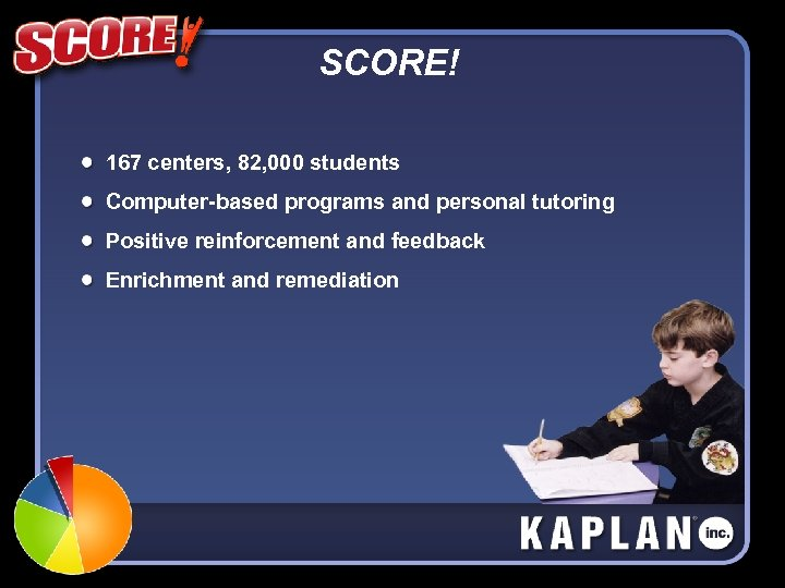 SCORE! 167 centers, 82, 000 students Computer-based programs and personal tutoring Positive reinforcement and