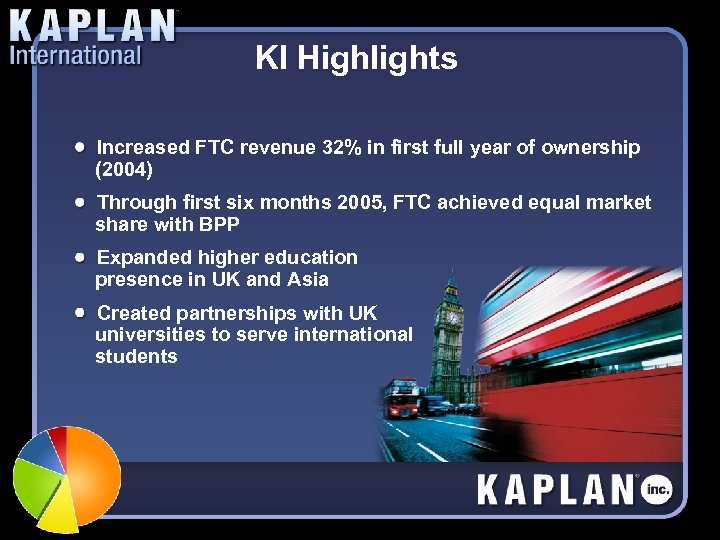 KI Highlights Increased FTC revenue 32% in first full year of ownership (2004) Through