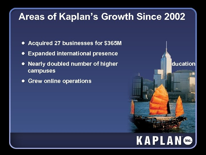 Areas of Kaplan's Growth Since 2002 Acquired 27 businesses for $365 M Expanded international