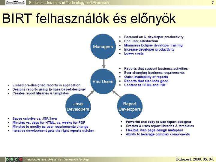 Budapest University of Technology and Economics 7 BIRT felhasználók és előnyök Fault-tolerant Systems Research