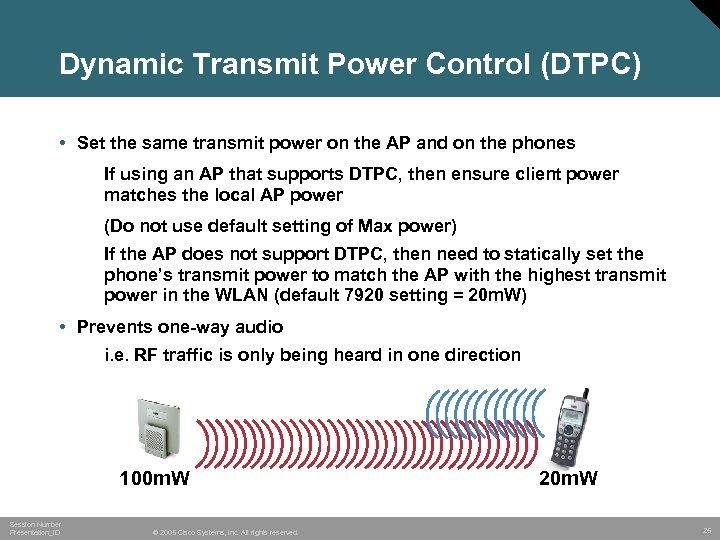 Dynamic Transmit Power Control (DTPC) • Set the same transmit power on the AP