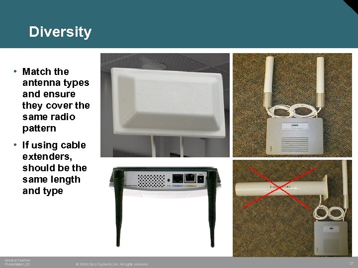 Diversity • Match the antenna types and ensure they cover the same radio pattern
