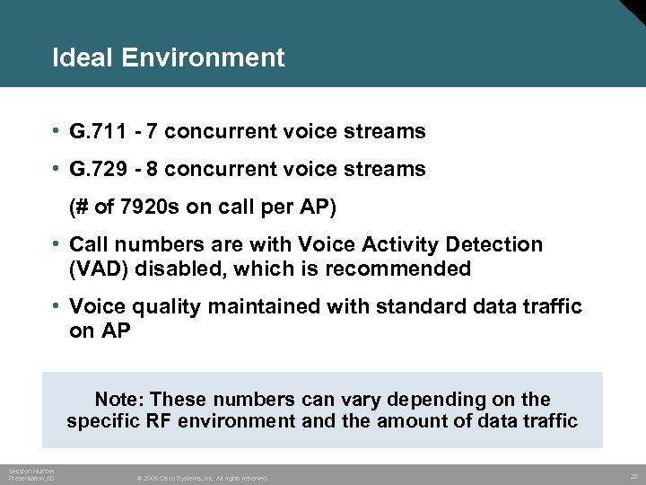 Ideal Environment • G. 711 - 7 concurrent voice streams • G. 729 -