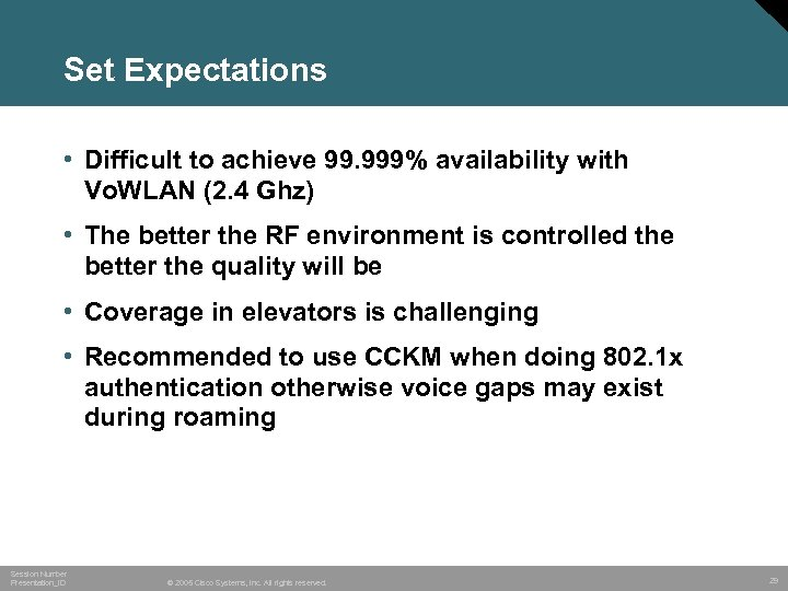 Set Expectations • Difficult to achieve 99. 999% availability with Vo. WLAN (2. 4
