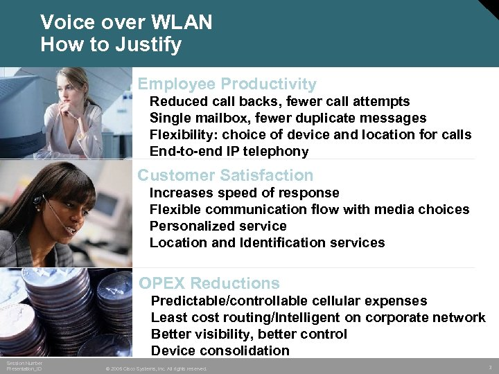 Voice over WLAN How to Justify Employee Productivity • • Reduced call backs, fewer