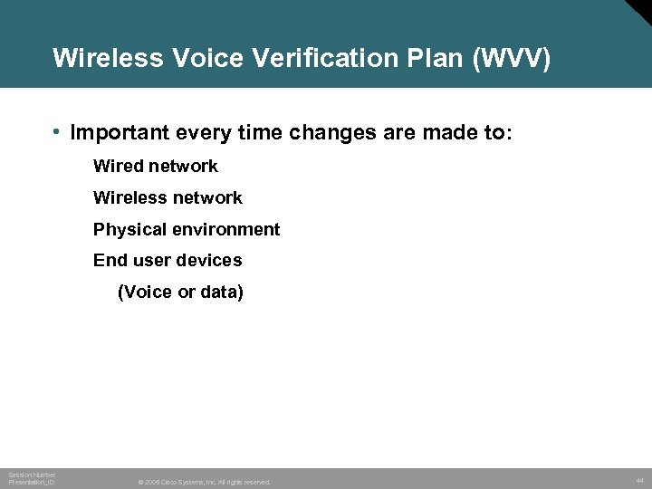 Wireless Voice Verification Plan (WVV) • Important every time changes are made to: Wired