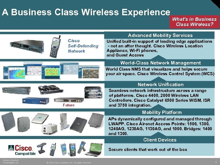 A Business Class Wireless Experience What's in Business Class Wireless? Advanced Mobility Services Cisco