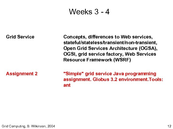 Weeks 3 - 4 Grid Service Assignment 2 Concepts, differences to Web services, stateful/stateless/transient/non-transient,