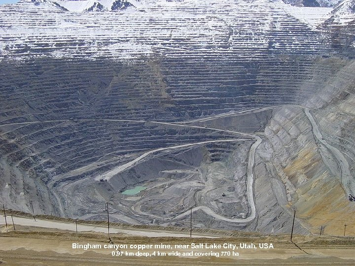 Bingham canyon copper mine, near Salt Lake City, Utah, USA 0. 97 km deep,