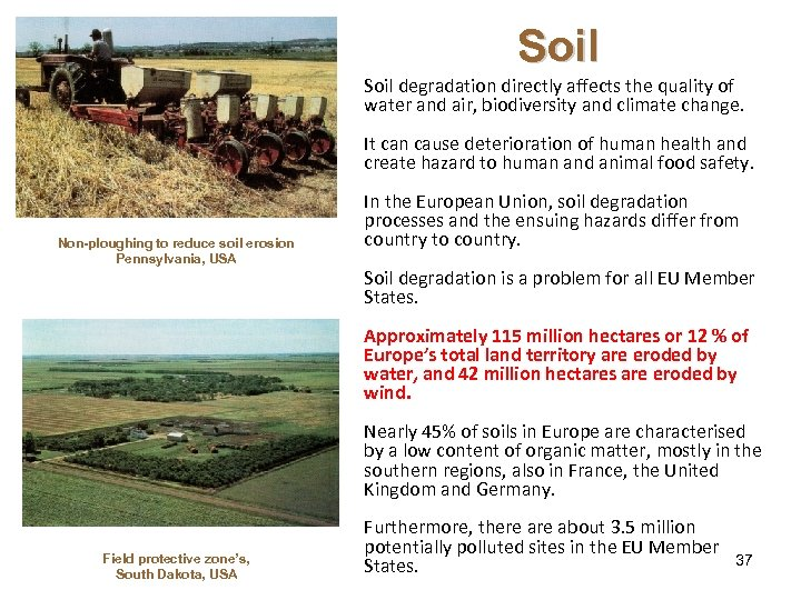 Soil degradation directly affects the quality of water and air, biodiversity and climate change.