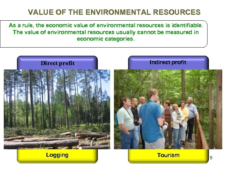 VALUE OF THE ENVIRONMENTAL RESOURCES As a rule, the economic value of environmental resources