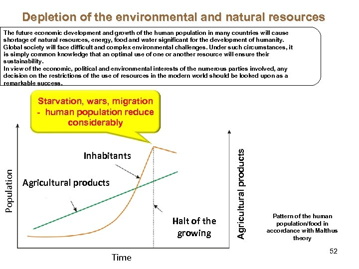 Depletion of the environmental and natural resources The future economic development and growth of
