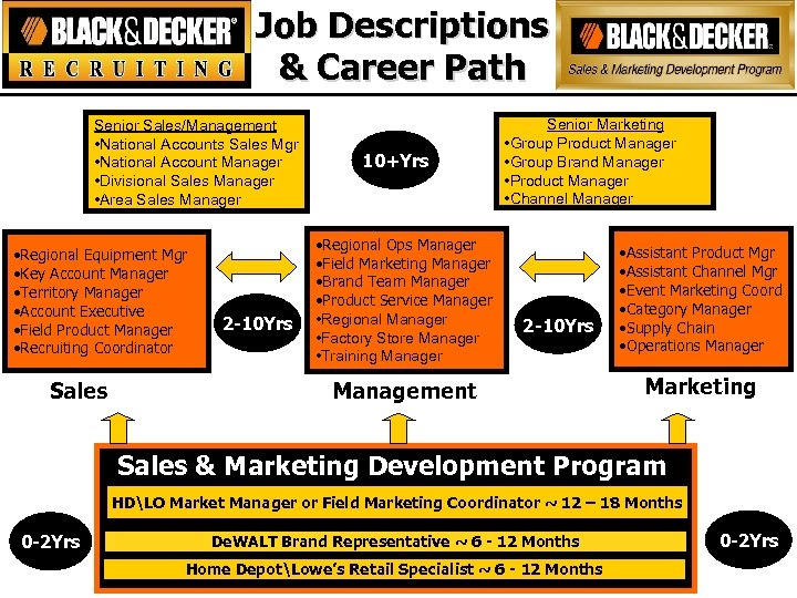 Job Descriptions & Career Path Senior Sales/Management • National Accounts Sales Mgr • National