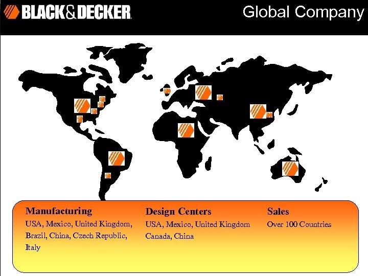 Global Company Manufacturing Design Centers Sales USA, Mexico, United Kingdom, Brazil, China, Czech Republic,