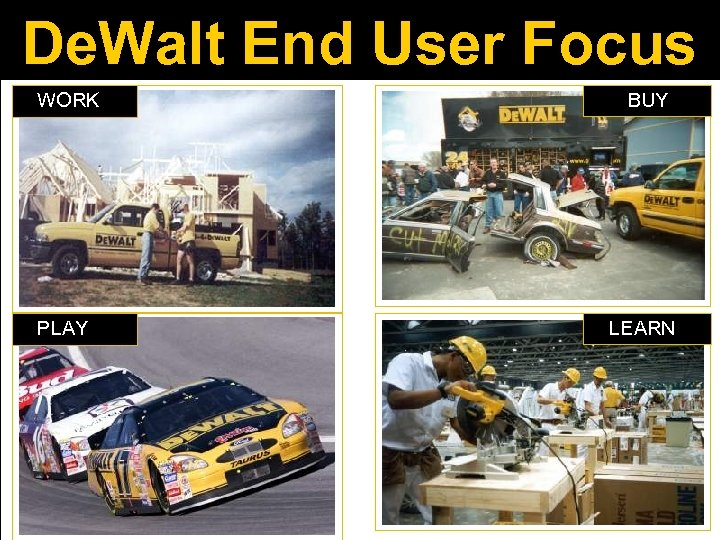 De. Walt End User Focus WORK BUY PLAY LEARN