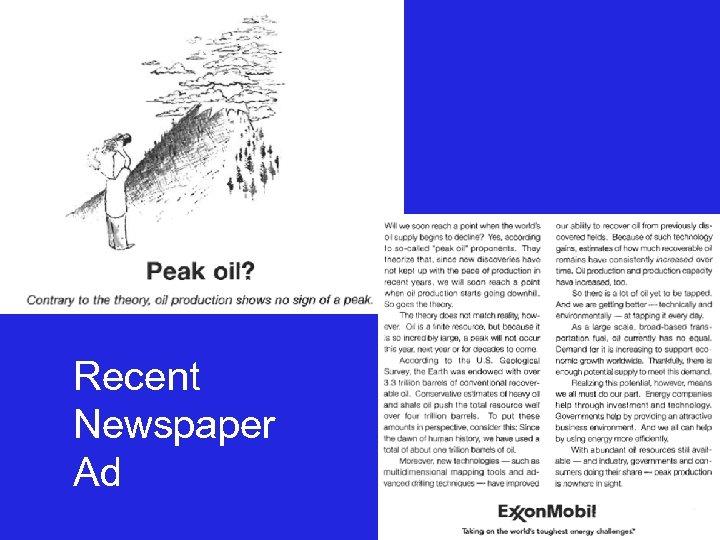 Recent Newspaper Ad