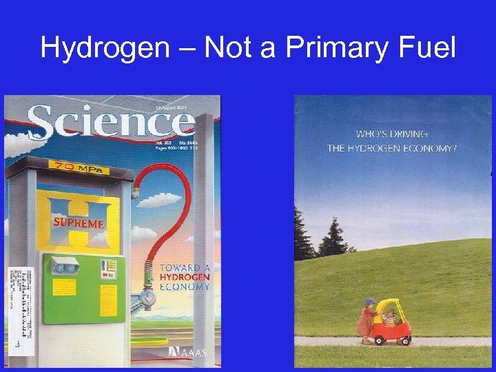 Hydrogen – Not a Primary Fuel