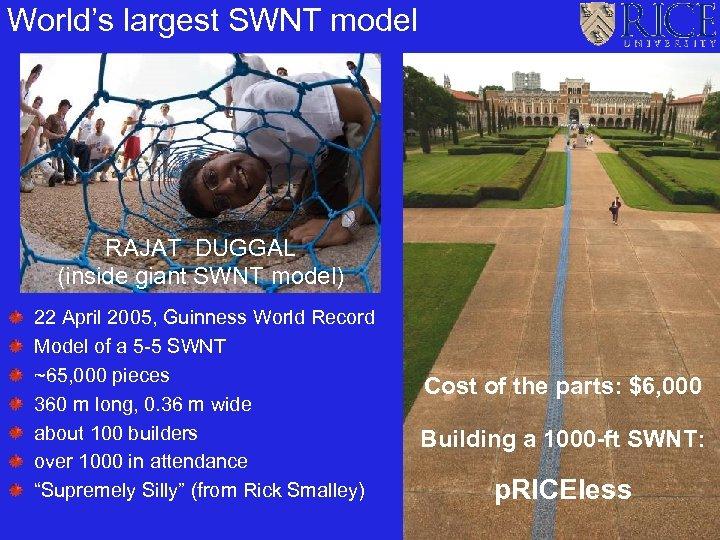 World's largest SWNT model RAJAT DUGGAL (inside giant SWNT model) 22 April 2005, Guinness