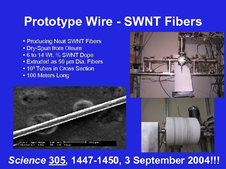 Prototype Wire - SWNT Fibers • Producing Neat SWNT Fibers • Dry-Spun from Oleum