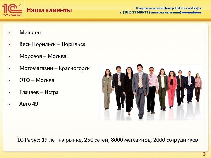Наши клиенты • Мишлен • Весь Норильск – Норильск • Морозов – Москва •