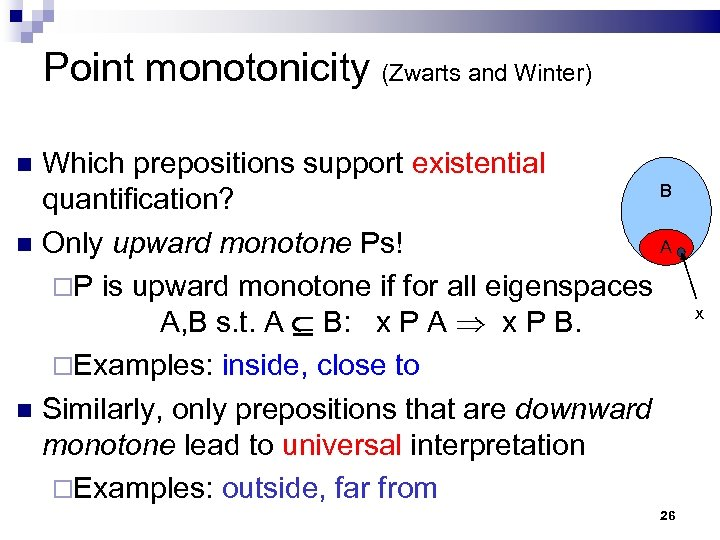 Point monotonicity (Zwarts and Winter) Which prepositions support existential B quantification? Only upward monotone