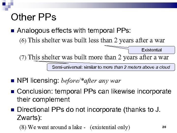 Other PPs Analogous effects with temporal PPs: (6) This shelter was built less than