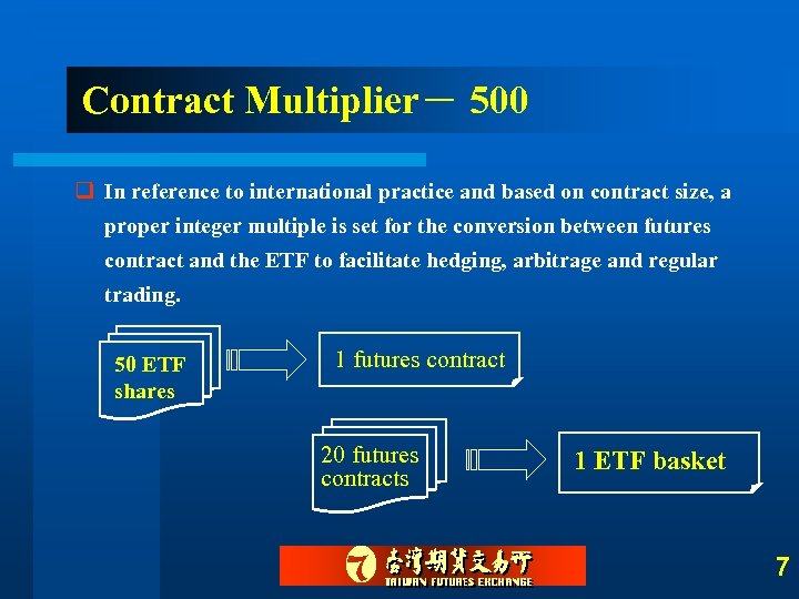 Contract Multiplier- 500 q In reference to international practice and based on contract size,